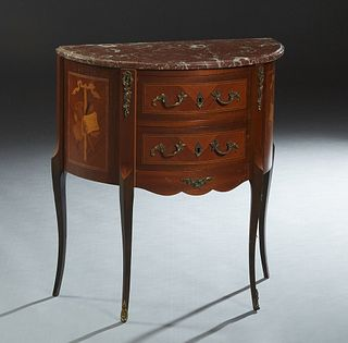 Diminutive French Louis XV Style Ormolu Mounted Inlaid Mahogany Oval Marble Top Commode, 20th c., the stepped edge demilune highly figured brown marbl
