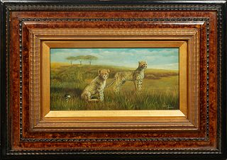 """Chinese School, """"Cheetahs in the Savanna,"""" 20th c., oil on board, presented in a large wood frame, signed lower right, H.- 7 1/2 in., W.- 15 1/2 in.,"""