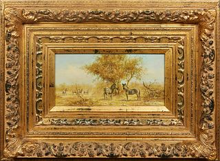 """Chinese School, """"Zebras in the Savanna,"""" 20th c., oil on board, signed lower right, presented in a large gilt frame, H.- 7 1/2 in., W.- 15 1/2 in., Fr"""