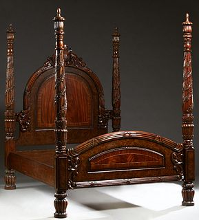 Carved Mahogany Queen Size Poster Bed, 21st c., the arched headboard with a pierced scrolled leaf crest within reeded posts with relief floral garland