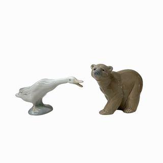 Pair of Lladro Porcelain Animal Figurines