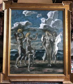 Three Graces on Beach, Sergei Ivanoff, Russian, Oil