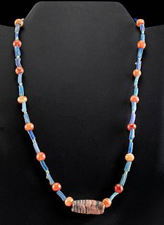 Egyptian Carnelian and Glass Bead Necklace