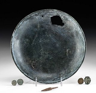 6 Greek, Roman, Indo-Persian Items - Bowl, Tip, Coins