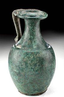 Roman Bronze Pitcher w / Bust  of Female Deity