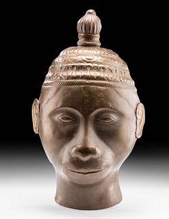 18th C. Indian Brass Bhuta Mask of Hanuman