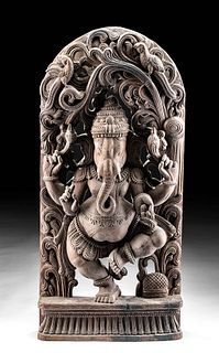 Antique Indian Carved Wood Panel with Ganesha