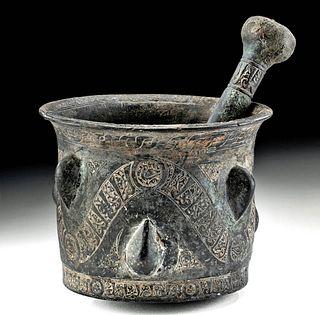 12th C. Seljuk Bronze Mortar & Leaded Brass Pestle