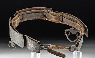 Late 18th C. Tibetan Leather & Silvered Steel Belt