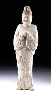 Chinese Tang Dynasty Terracotta Court Attendant, TL'd
