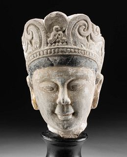 Chinese Ming Dynasty Stucco Head of Bodhisattva