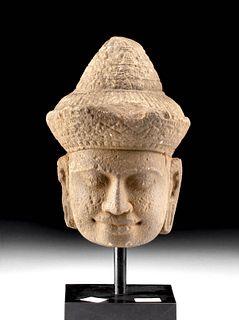 12th C. Khmer Angkor Stone Buddha Head