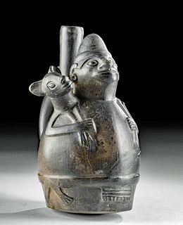 Chimu Pottery Stirrup Vessel with Figure Holding Llama