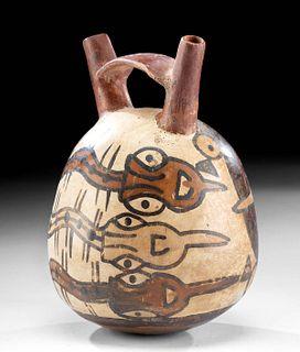 Nazca Pottery Stirrup Vessel w/ Feline