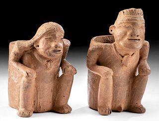 2 Calima Pottery Cargador Vessels - Man & Woman