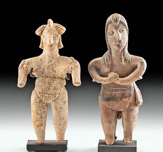 Pair of Colima Pottery Standing Female Flat Figures
