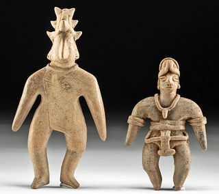 Lot of 2 Colima Pottery Standing Figures