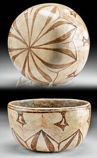 Chinesco Pottery Olla with Lotus Flower Motif