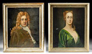 Framed Antique Portraits - Col. Richard & Anne Lee
