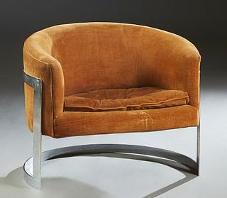 Mid Century Modern Milo Baughman Style Floating Chrome Barrel Chair, 20th c., upholstered in orange velvet, with a tufted seat cushion, H.- 28 in., W.