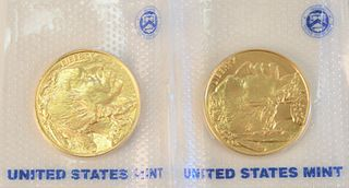 Two Gold Buffalo, 2008 Mint State fine gold, 1 oz.