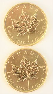 Two Canadian Maple Leafs, 2009, fine gold, 1 oz each.