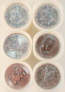 Six Rolls of Canadian Maple Leaf Silver, 1 oz. each; 25 per roll, 150 t.oz.