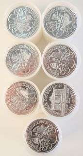 Seven Rolls of Austrian Philharmonics Silver, 1 oz. each, 140 t.oz.