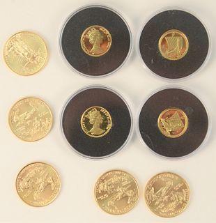 Five Gold Eagles, 1/4 oz. each, plus 4 Canadian 1/20 oz. gold.