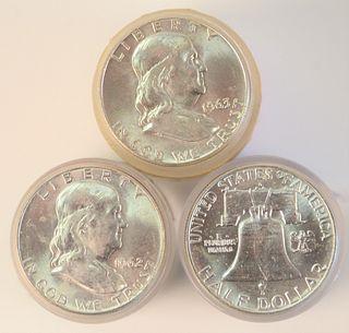 Three Rolls of Franklin Silver Half Dollars, two 1962 D, AU; 1963 D, AU.