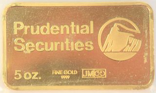Five Ounce Gold Bar, Prudential Securities.