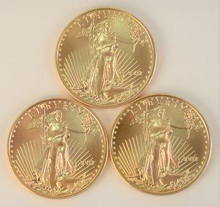 Three Gold Eagles, 2003, 1 oz. each.