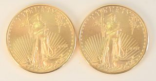 Two Gold Eagles, 1 oz. each.