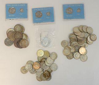 12 Silver Dollars; 47 silver 1/2 dollars; 1 silver Eagle; 3 silver dimes; 28 silver clad.