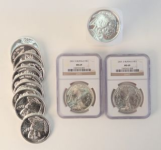 Roll and a Half of Buffalo, 1 oz. silver, 32 troy ounces including 2 slabbed MS 69.