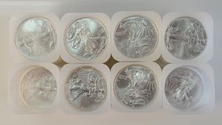 Eight Rolls of Silver, to include 2 1/2 rolls of silver Eagles, 1 oz. each, 140 t.oz. total.