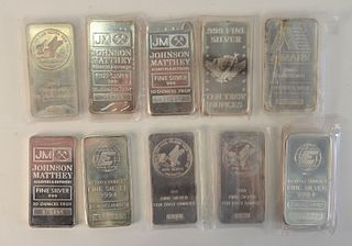 Ten Silver Bars, 10 t.oz., each total 100 t.oz., .999 fine.