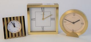 Three Piece Lot of Tiffany & Company Desk Clocks, each brass, tallest height 4 inches.