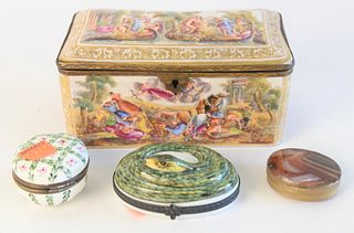 Group of four boxes to include, Capodimonte box with hinged lid, agate trinket case, painted porcelain with floral motif trinket box, along with a Lim