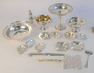 Sterling Silver Group, to include weighted compote; bowl; small salts; ashtrays; Reed & Barton sugar, 19.9 t.oz weighable.