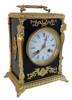 Continental Clock, with brass mounts and handle, (dial repaired), height 9 inches.