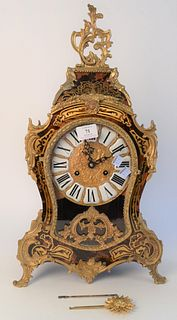 Louis XV Style Faux Boule Mantle Clock, with porcelain Roman numerals, height 22 inches.