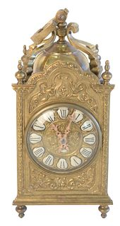 Brass Carriage Clock, with enameled Roman numerals, total height 9 3/4 inches.