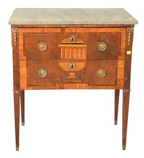 Louis XV Commode, with marble top, front with urn inlay, and bronze mounts, handwriting on top under marble, height 30 inches, width 27 inches.