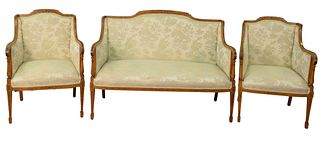 "Three Piece Edwardian Style Settee, along with two arm chairs, satinwood with paint decoration (one seat with stain), height 37 1/2"", width 51 1/2""."