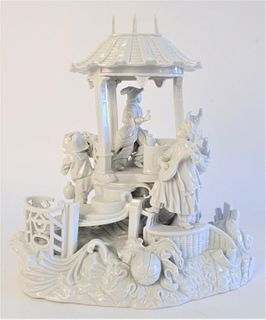 German Porcelain Group, people in gazebo, blue mark on back, height 13 1/2 inches.