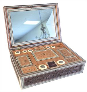 Carved Rosewood and Inlaid Rectangular Sewing Box, with fitted interior, height 4 1/2 inches, width 12 3/4 inches, depth 9 1/4 inches.