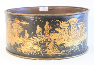 Tole Gilt Decorated Cachepot, having chinoiserie decorated gilt landscape scene, with copper liner, height 6 inches, diameter 12 3/4 inches.