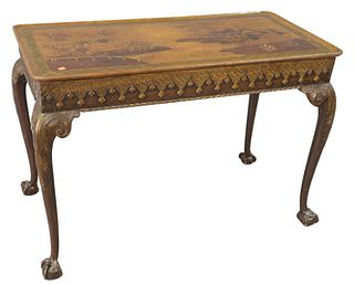 "Chinoiserie Decorated Table, with dished top, set on cabriole legs, set on ball and claw feet, height 29 inches, top 21"" x 49 1/2""."