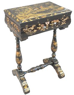 "Lacquered Sewing Table having hinged lid top painted trees and birds opening to fitted interior, height 27 inches, top 12 1/4"" x 18 1/2""."